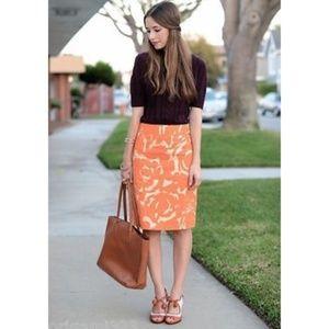 J. Crew Orange Metallic Linen Pencil Skirt